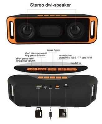 SC208 Hifi Portable Wireless Bluetooth 4.0 Stereo Super Bass Speaker Sound Box Sub-woofer TF USB FM